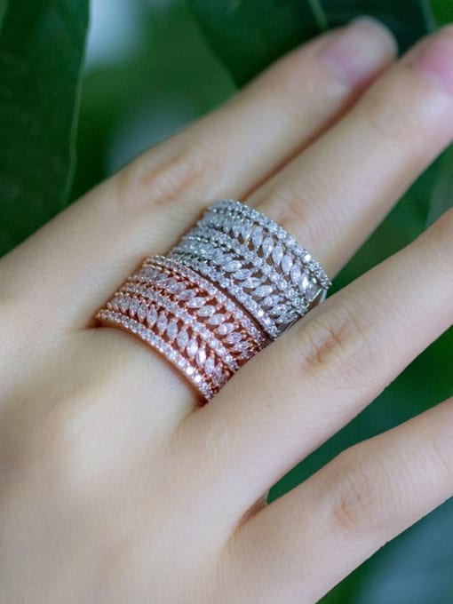 L.WIN Brass Cubic Zirconia Geometric Luxury Statement Ring 0