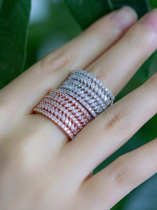 L.WIN Brass Cubic Zirconia Geometric Luxury Statement Ring