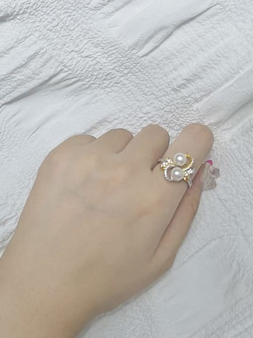 RAIN Brass Freshwater Pearl Flower Luxury Band Ring 1