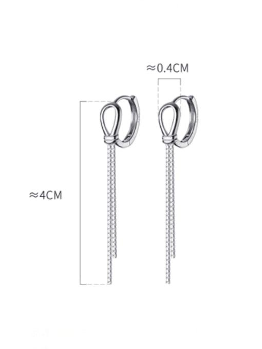 Rosh 925 Sterling Silver Tassel Minimalist Threader Earring 3