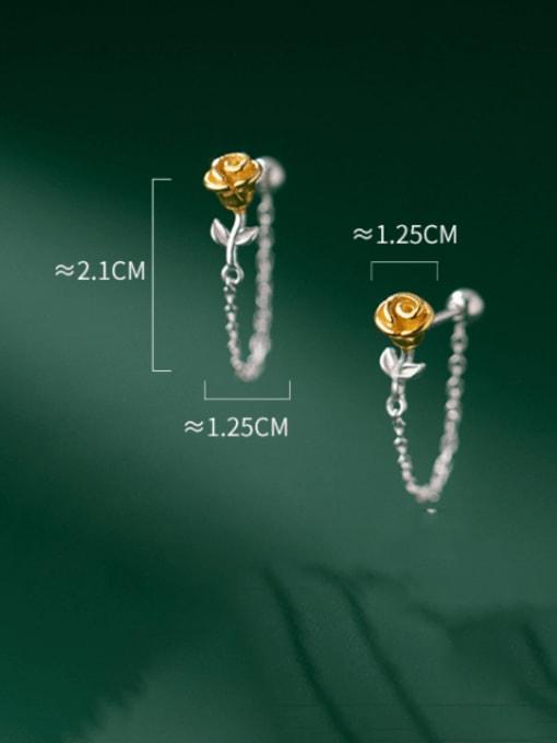 Rosh 925 Sterling Silver Flower Cute Threader Earring 4