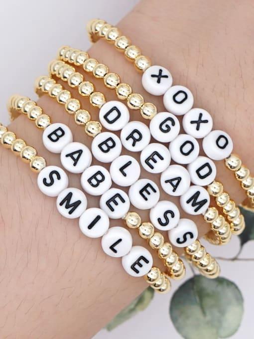 Roxi Stainless steel Bead Acrylic Letter Bohemia Beaded Bracelet 3