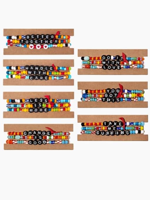 Roxi Stainless steel Bead Multi Color Letter Bohemia Beaded Bracelet 0