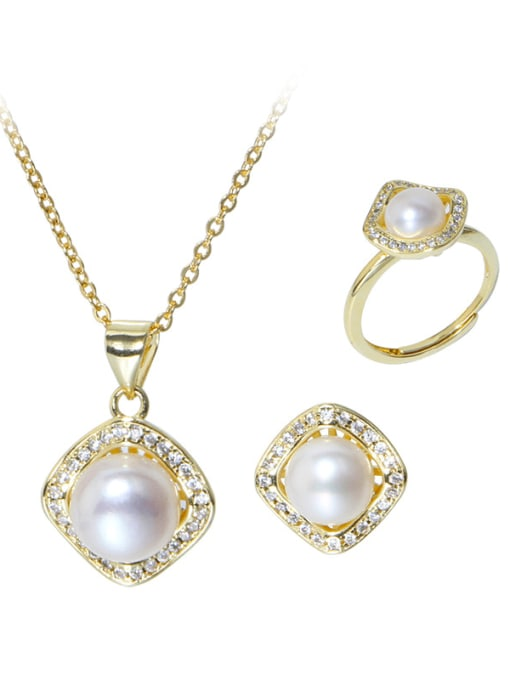 RAIN Brass Freshwater Pearl Minimalist Geometric  Earring Ring and Necklace Set