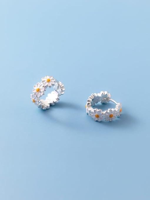 Rosh 925 Sterling Silver Flower Minimalist Huggie Earring 2