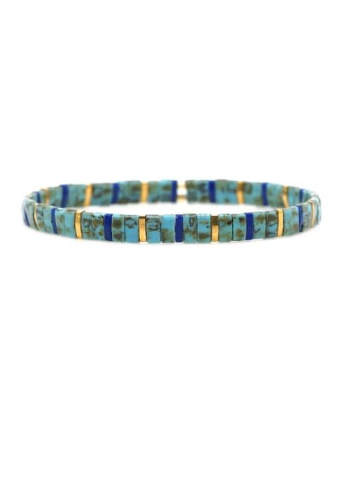 TL B190254C Stainless steel Tila Bead Multi Color Geometric Bohemia Handmade Weave Bracelet