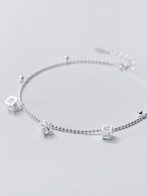 Rosh 925 Sterling Silver Cubic Zirconia  Irregular Minimalist Anklet 2