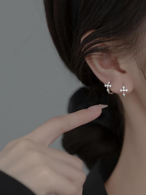 Rosh 925 Sterling Silver Cross Minimalist Huggie Earring 2