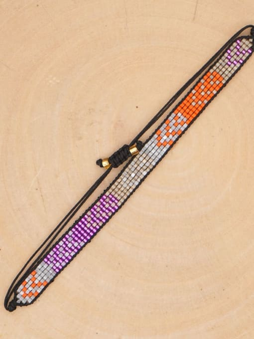 MI B200015E Multi Color Miyuki DB  Bead Geometric Artisan Handmade Weave Bracelet