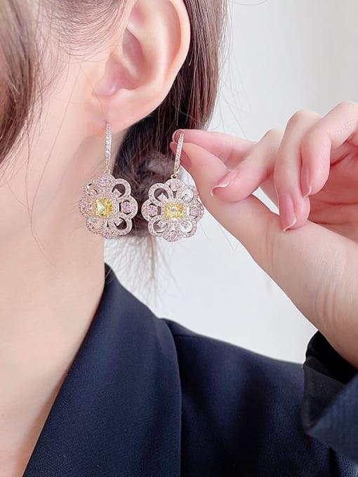Luxu Brass Cubic Zirconia Flower Minimalist Drop Earring 1