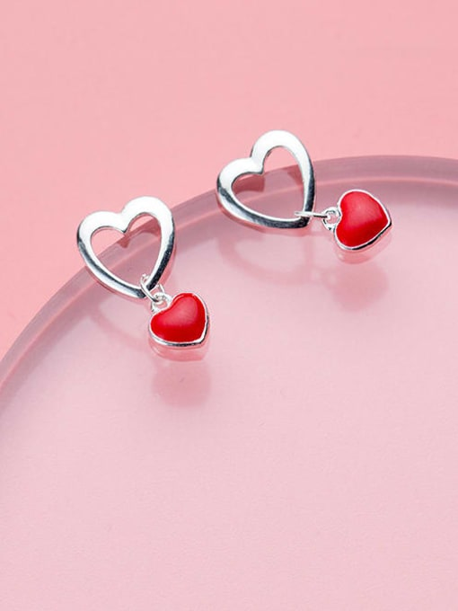 Rosh 925 Sterling Silver Enamel Heart Minimalist Stud Earring