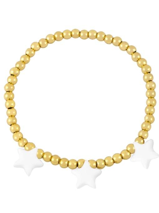 white Brass Enamel Star Vintage Beaded Bracelet
