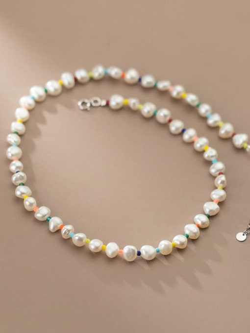 Rosh 925 Sterling Silver Freshwater Pearl Geometric Minimalist Necklace 2