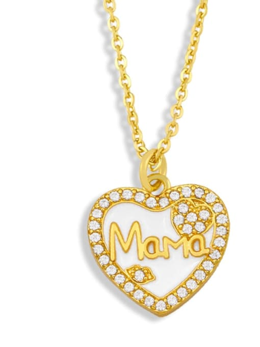 White love Brass Enamel Heart Vintage Necklace
