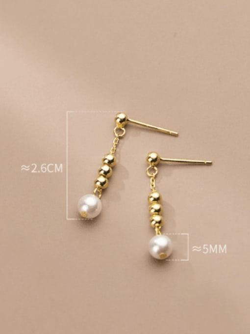 Rosh 925 Sterling Silver Bead Tassel Minimalist Drop Earring 3