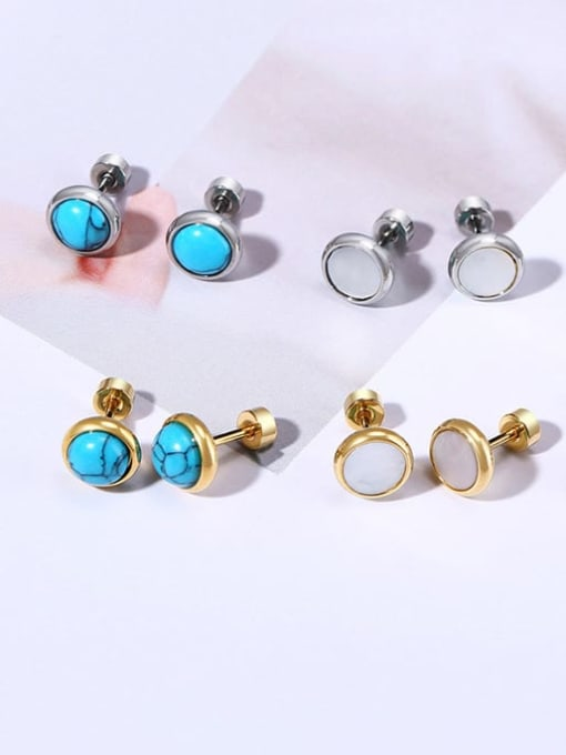 CONG Stainless steel Turquoise Round Vintage Stud Earring 1