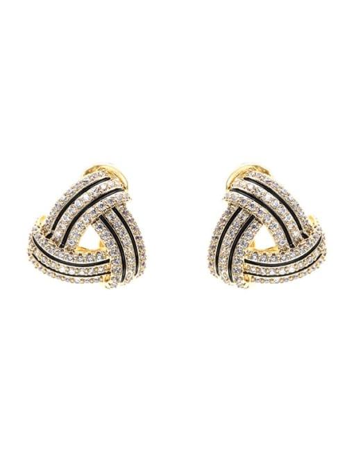 Luxu Brass Cubic Zirconia Geometric Luxury Stud Earring