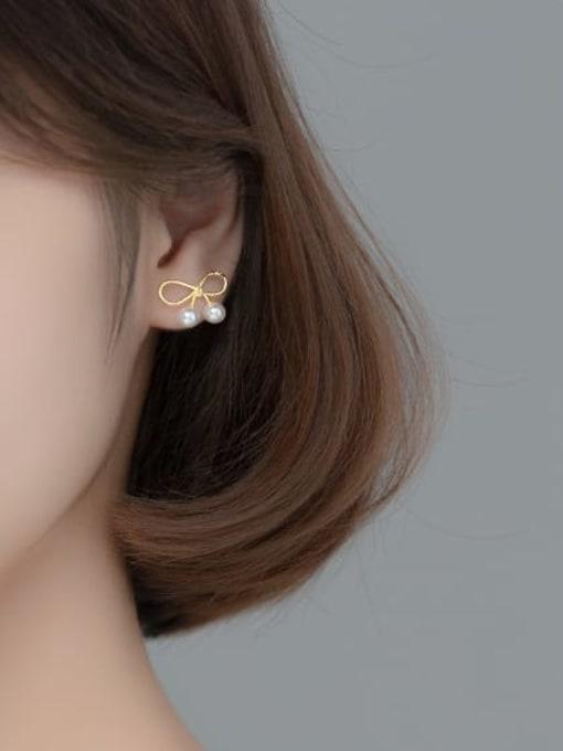 Rosh 925 Sterling Silver Imitation Pearl Bowknot Cute Stud Earring 1