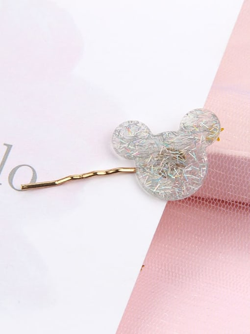 Cartoon color grey Alloy Cellulose Acetate Minimalist Heart Hair Pin