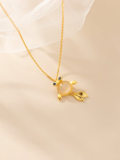 Gold 925 Sterling Silver Cats Eye Fish Minimalist Necklace