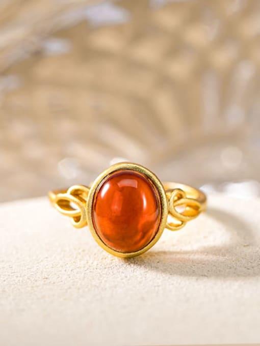DEER 925 Sterling Silver Garnet Oval Vintage Band Ring 0