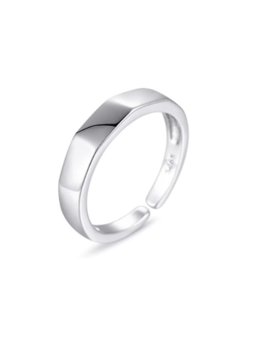 Boomer Cat 925 Sterling Silver Smooth Round Minimalist Band Ring