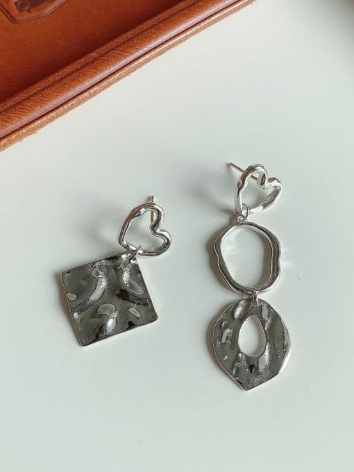 Boomer Cat 925 Sterling Silver Asymmetry Geometric Vintage Drop Earring 2