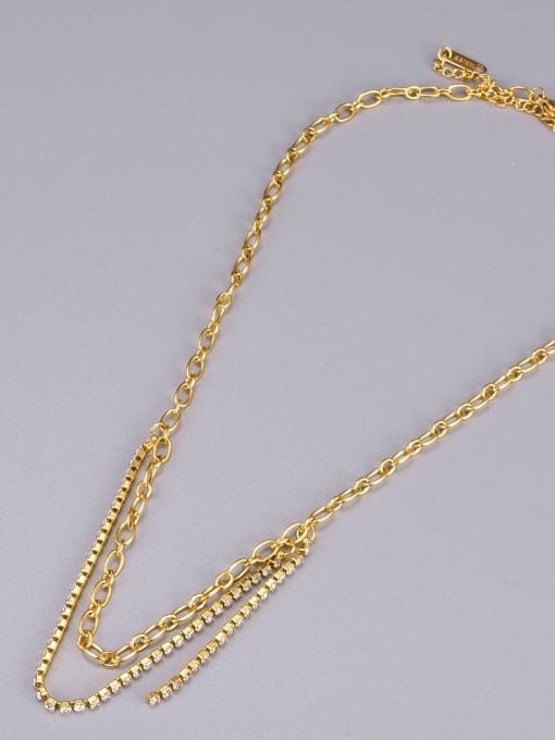 A TEEM Titanium Steel Cubic Zirconia Geometric Minimalist Necklace 2