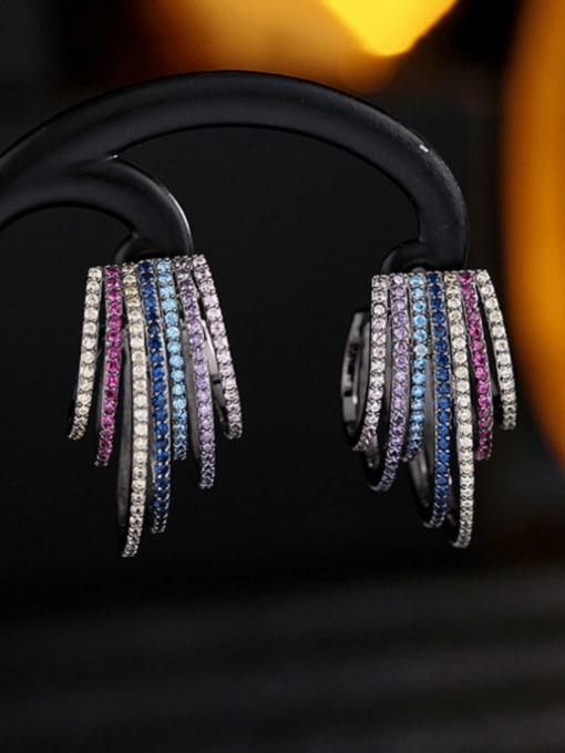 Luxu Brass Cubic Zirconia Geometric Statement Stud Earring 0
