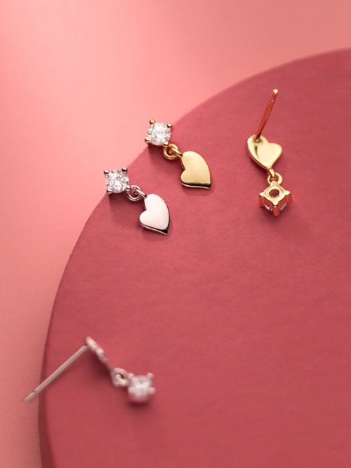 Rosh 925 Sterling Silver Cubic Zirconia Asymmetry Heart Minimalist Stud Earring 3