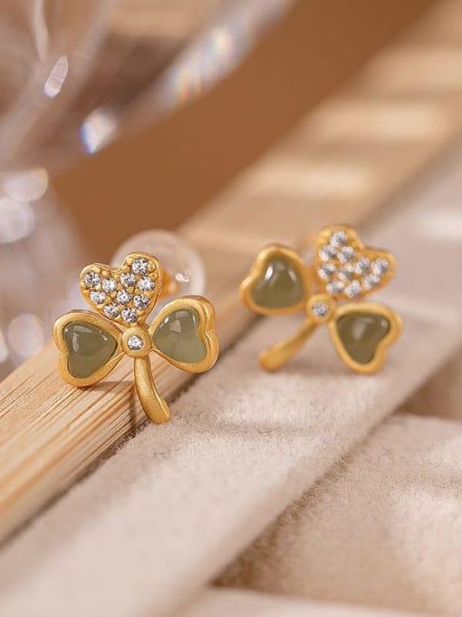 DEER 925 Sterling Silver Jade Clover Cute Stud Earring 0