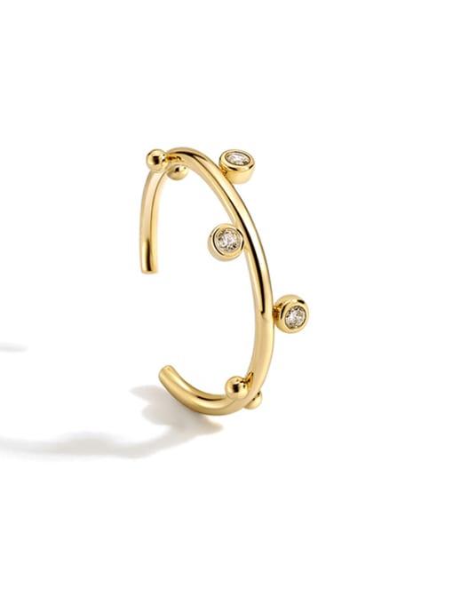CHARME Brass Rhinestone Irregular Minimalist Band Ring 0