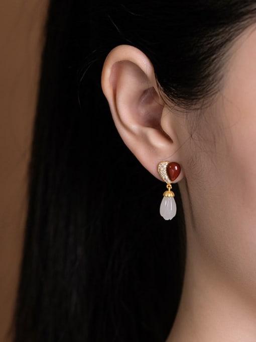 DEER 925 Sterling Silver Carnelian Heart Vintage Drop Earring 1