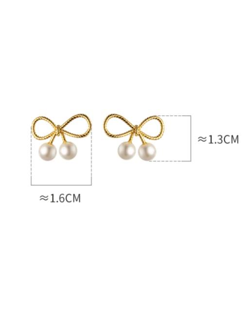 Rosh 925 Sterling Silver Imitation Pearl Bowknot Cute Stud Earring 2