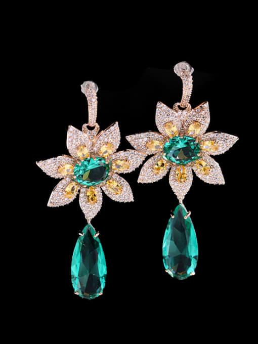 Green zirconium Brass Cubic Zirconia Flower Luxury Drop Earring