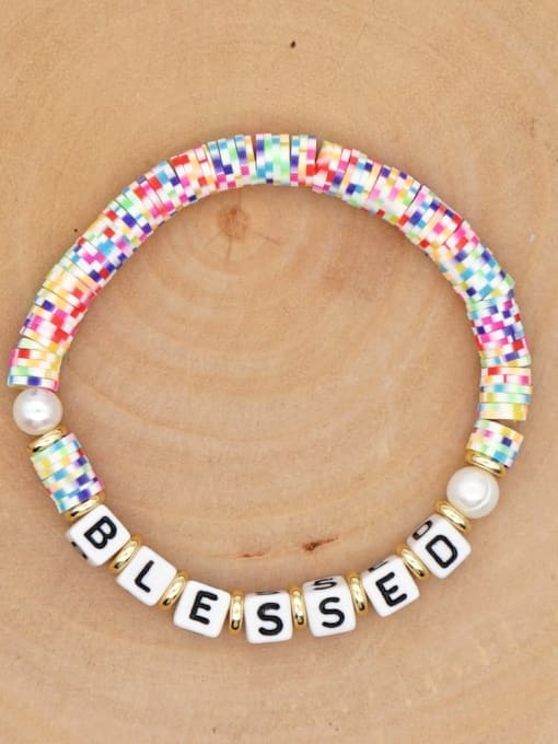 QT B200146F Stainless steel Freshwater Pearl Multi Color Polymer Clay Letter Bohemia Handmade Weave Bracelet