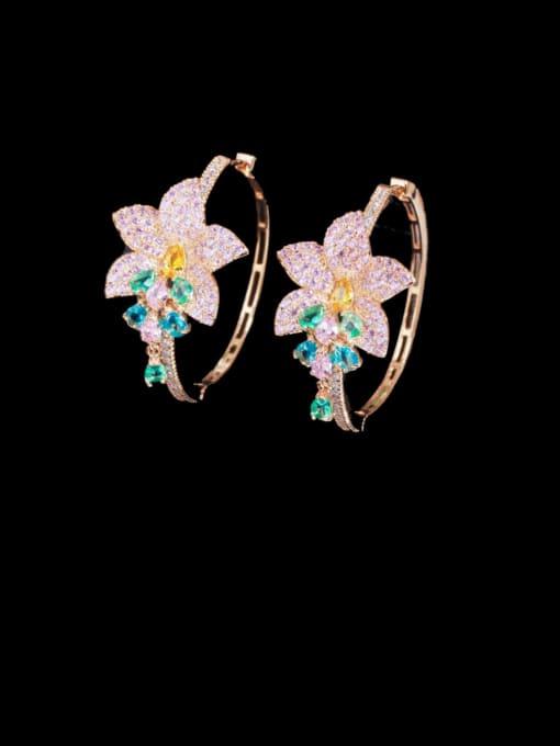 E0373 gold Brass Cubic Zirconia Flower Luxury Cluster Earring