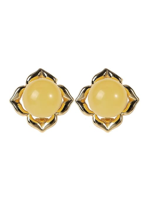 DEER 925 Sterling Silver Amber Flower Cute Stud Earring 4