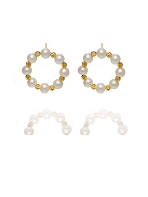 golden Brass Freshwater Pearl Geometric Vintage Stud Earring
