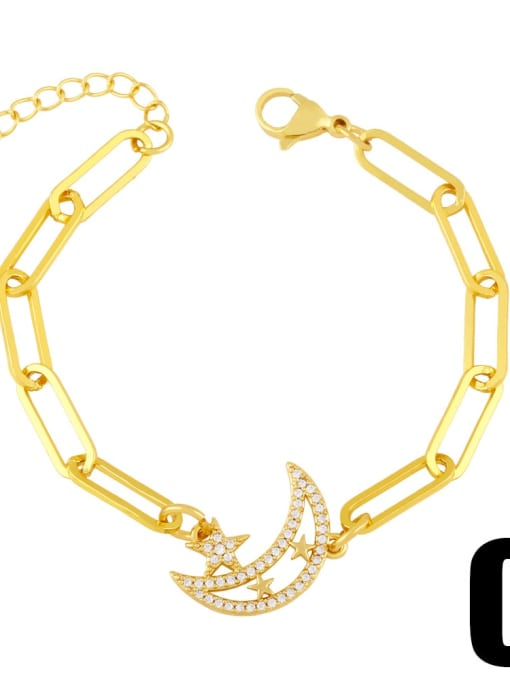 C Brass Cubic Zirconia Star Trend Hollow Chain Bracelet