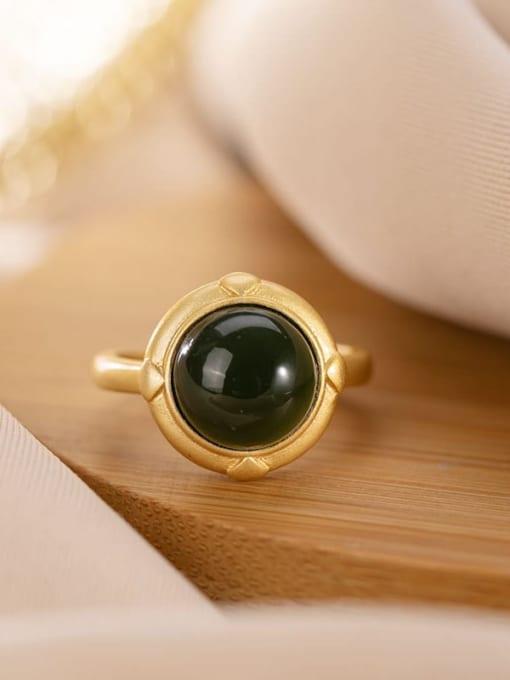 DEER 925 Sterling Silver Jade Geometric Vintage Band Ring