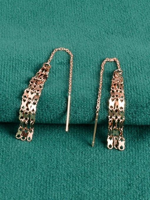 A TEEM Titanium Steel Tassel Minimalist Threader Earring 0