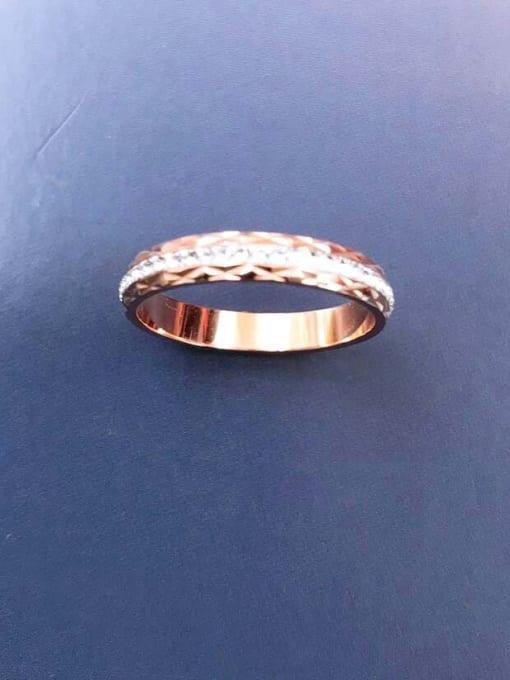 MIYA Titanium Steel Rhinestone Round Minimalist Band Ring