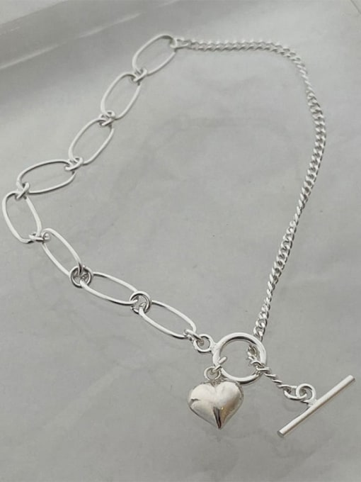 Boomer Cat 925 Sterling Silver Heart Minimalist Asymmetric chain  Anklet