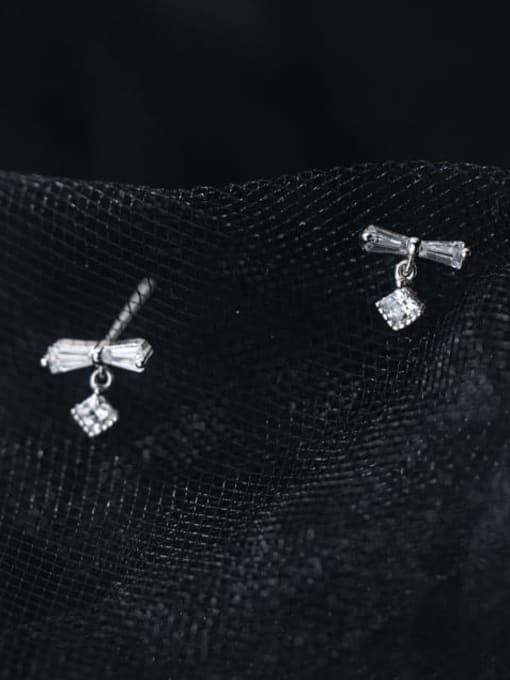 Rosh 925 Sterling Silver Cubic Zirconia Bowknot Minimalist Stud Earring