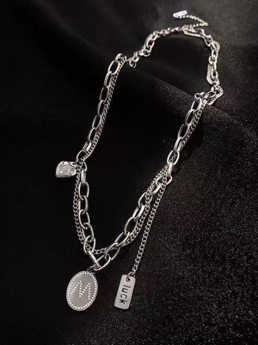 A TEEM Titanium Steel Heart Hip Hop Multi Strand Necklace