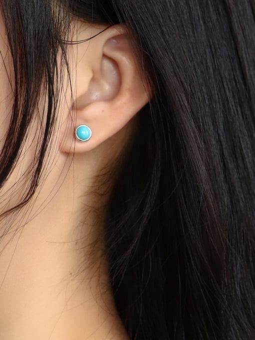 CHARME Brass Turquoise Geometric Vintage Stud Earring 2