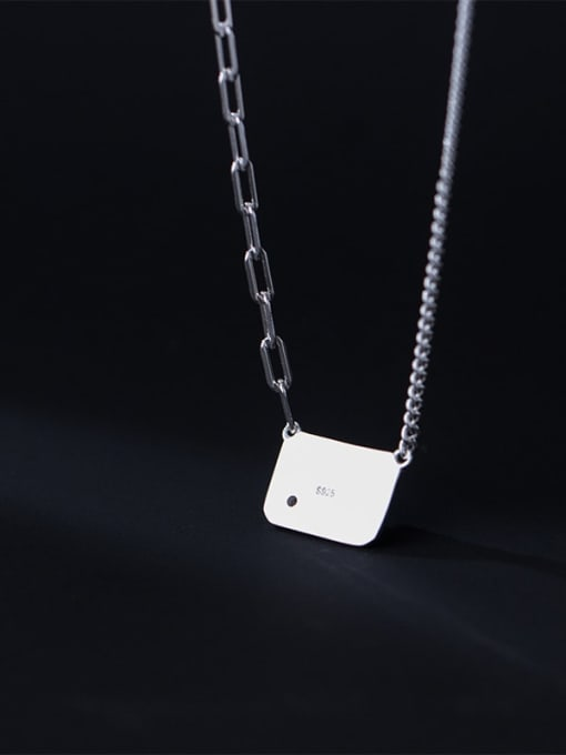 Rosh 925 Sterling Silver Geometric Letter Minimalist Necklace 2