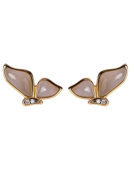 DEER 925 Sterling Silver Jade Butterfly Vintage Stud Earring 0