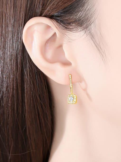 CCUI 925 Sterling Silver Cubic Zirconia Geometric Dainty Drop Earring 1